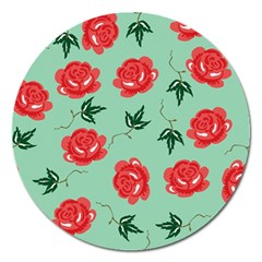 Floral Roses Wallpaper Red Pattern Background Seamless Illustration Magnet 5  (round) by Simbadda