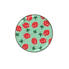 Floral Roses Wallpaper Red Pattern Background Seamless Illustration Hat Clip Ball Marker (4 Pack) by Simbadda