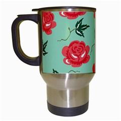 Floral Roses Wallpaper Red Pattern Background Seamless Illustration Travel Mugs (white)