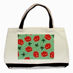 Floral Roses Wallpaper Red Pattern Background Seamless Illustration Basic Tote Bag (two Sides) by Simbadda