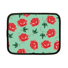 Floral Roses Wallpaper Red Pattern Background Seamless Illustration Netbook Case (small)  by Simbadda