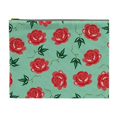 Floral Roses Wallpaper Red Pattern Background Seamless Illustration Cosmetic Bag (xl) by Simbadda