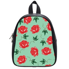 Floral Roses Wallpaper Red Pattern Background Seamless Illustration School Bags (small)  by Simbadda