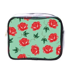 Floral Roses Wallpaper Red Pattern Background Seamless Illustration Mini Toiletries Bags by Simbadda