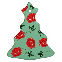 Floral Roses Wallpaper Red Pattern Background Seamless Illustration Ornament (christmas Tree)  by Simbadda