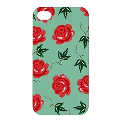 Floral Roses Wallpaper Red Pattern Background Seamless Illustration Apple Iphone 4/4s Hardshell Case by Simbadda