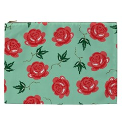 Floral Roses Wallpaper Red Pattern Background Seamless Illustration Cosmetic Bag (xxl)  by Simbadda