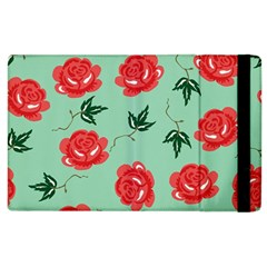Floral Roses Wallpaper Red Pattern Background Seamless Illustration Apple Ipad 3/4 Flip Case by Simbadda