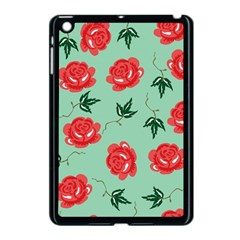 Floral Roses Wallpaper Red Pattern Background Seamless Illustration Apple Ipad Mini Case (black) by Simbadda