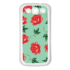 Floral Roses Wallpaper Red Pattern Background Seamless Illustration Samsung Galaxy S3 Back Case (white) by Simbadda