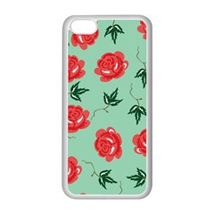 Floral Roses Wallpaper Red Pattern Background Seamless Illustration Apple Iphone 5c Seamless Case (white) by Simbadda