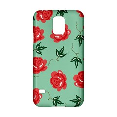 Floral Roses Wallpaper Red Pattern Background Seamless Illustration Samsung Galaxy S5 Hardshell Case  by Simbadda
