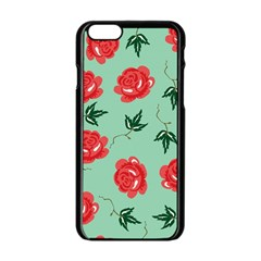 Floral Roses Wallpaper Red Pattern Background Seamless Illustration Apple Iphone 6/6s Black Enamel Case by Simbadda