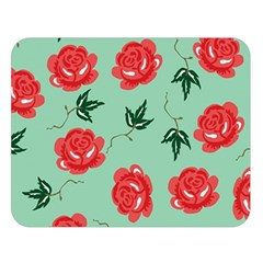 Floral Roses Wallpaper Red Pattern Background Seamless Illustration Double Sided Flano Blanket (large)  by Simbadda