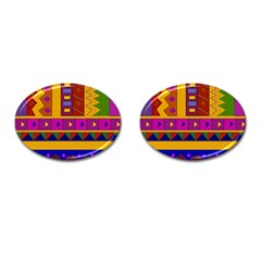 Abstract A Colorful Modern Illustration Cufflinks (oval) by Simbadda
