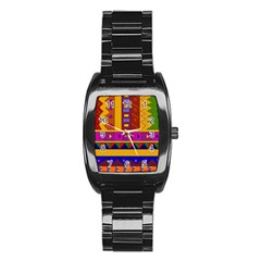 Abstract A Colorful Modern Illustration Stainless Steel Barrel Watch by Simbadda