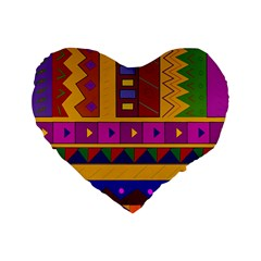 Abstract A Colorful Modern Illustration Standard 16  Premium Flano Heart Shape Cushions by Simbadda