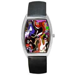 Colourful Abstract Background Design Barrel Style Metal Watch by Simbadda