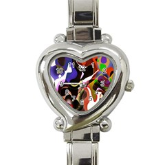 Colourful Abstract Background Design Heart Italian Charm Watch by Simbadda