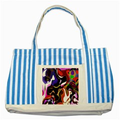 Colourful Abstract Background Design Striped Blue Tote Bag by Simbadda