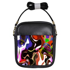 Colourful Abstract Background Design Girls Sling Bags by Simbadda