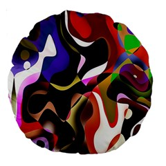 Colourful Abstract Background Design Large 18  Premium Round Cushions by Simbadda
