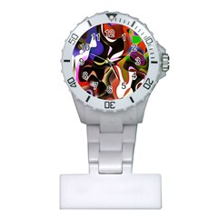 Colourful Abstract Background Design Plastic Nurses Watch by Simbadda