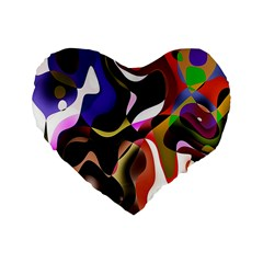 Colourful Abstract Background Design Standard 16  Premium Flano Heart Shape Cushions by Simbadda