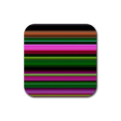 Multi Colored Stripes Background Wallpaper Rubber Square Coaster (4 Pack)  by Simbadda