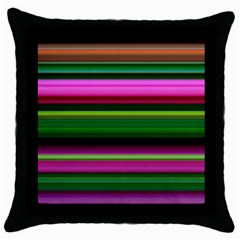 Multi Colored Stripes Background Wallpaper Throw Pillow Case (black) by Simbadda