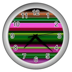 Multi Colored Stripes Background Wallpaper Wall Clocks (silver)  by Simbadda