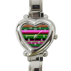 Multi Colored Stripes Background Wallpaper Heart Italian Charm Watch by Simbadda