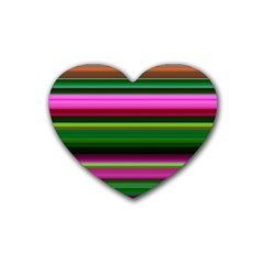 Multi Colored Stripes Background Wallpaper Rubber Coaster (heart)  by Simbadda