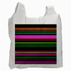 Multi Colored Stripes Background Wallpaper Recycle Bag (two Side)  by Simbadda