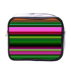 Multi Colored Stripes Background Wallpaper Mini Toiletries Bags by Simbadda