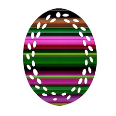 Multi Colored Stripes Background Wallpaper Ornament (oval Filigree) by Simbadda