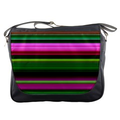 Multi Colored Stripes Background Wallpaper Messenger Bags by Simbadda