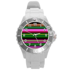 Multi Colored Stripes Background Wallpaper Round Plastic Sport Watch (l) by Simbadda