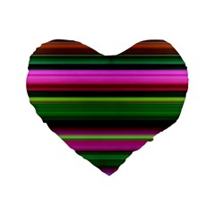Multi Colored Stripes Background Wallpaper Standard 16  Premium Flano Heart Shape Cushions by Simbadda