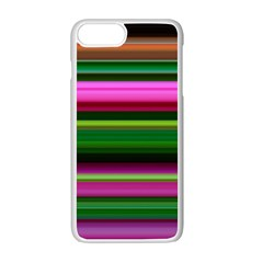 Multi Colored Stripes Background Wallpaper Apple Iphone 7 Plus White Seamless Case by Simbadda