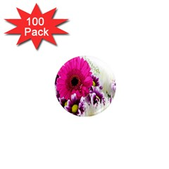 Pink Purple And White Flower Bouquet 1  Mini Magnets (100 Pack)  by Simbadda