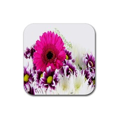 Pink Purple And White Flower Bouquet Rubber Square Coaster (4 Pack)  by Simbadda
