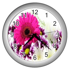 Pink Purple And White Flower Bouquet Wall Clocks (silver)  by Simbadda