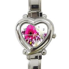 Pink Purple And White Flower Bouquet Heart Italian Charm Watch by Simbadda