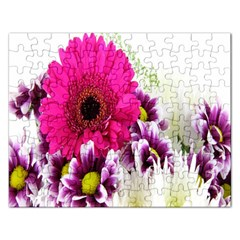 Pink Purple And White Flower Bouquet Rectangular Jigsaw Puzzl by Simbadda
