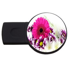 Pink Purple And White Flower Bouquet Usb Flash Drive Round (4 Gb) by Simbadda