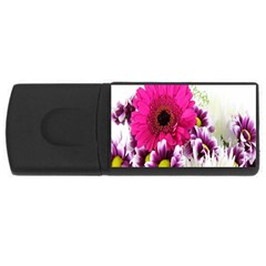 Pink Purple And White Flower Bouquet Usb Flash Drive Rectangular (4 Gb) by Simbadda