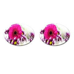 Pink Purple And White Flower Bouquet Cufflinks (oval) by Simbadda