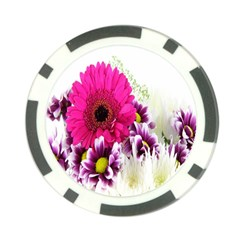 Pink Purple And White Flower Bouquet Poker Chip Card Guard (10 Pack) by Simbadda