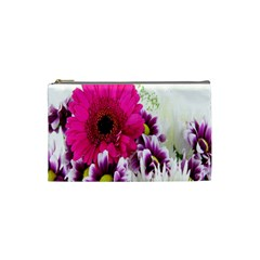 Pink Purple And White Flower Bouquet Cosmetic Bag (small)  by Simbadda